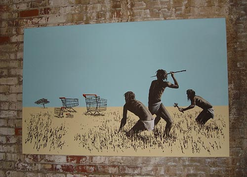 banksy trolleys canvas
