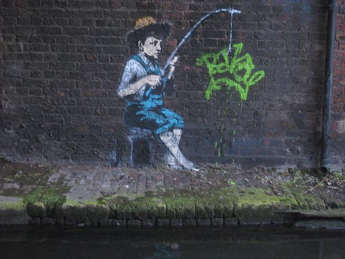banksy canal camden fishing boy