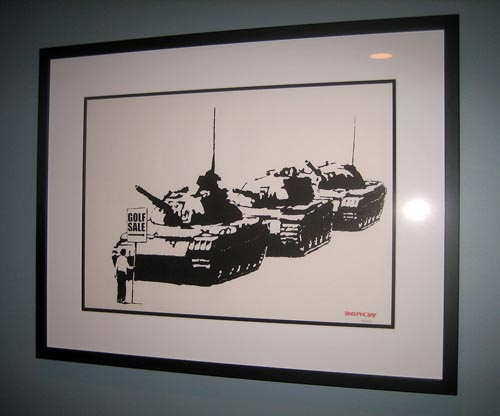 Banksy print Golf Sale framed