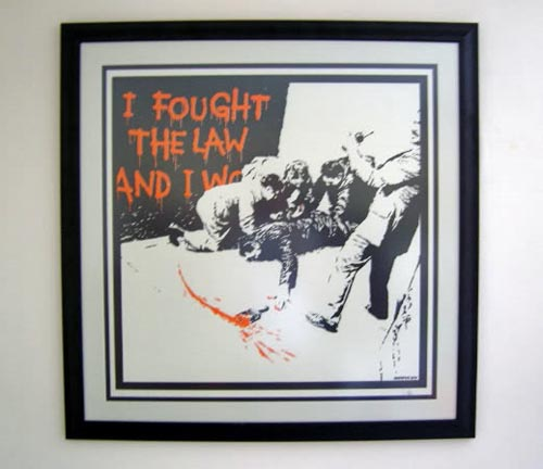 Banksy Print I Fought The Law Framed