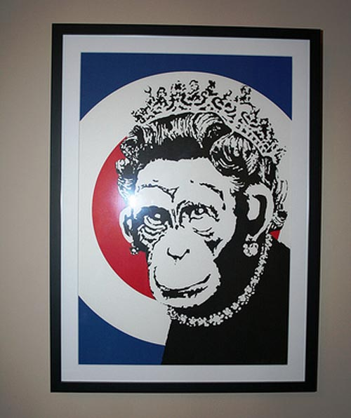 Banksy Print Monkey Queen Framed