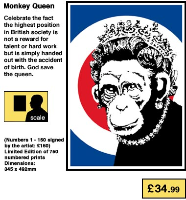 Banksy Print Monkey Queen POW