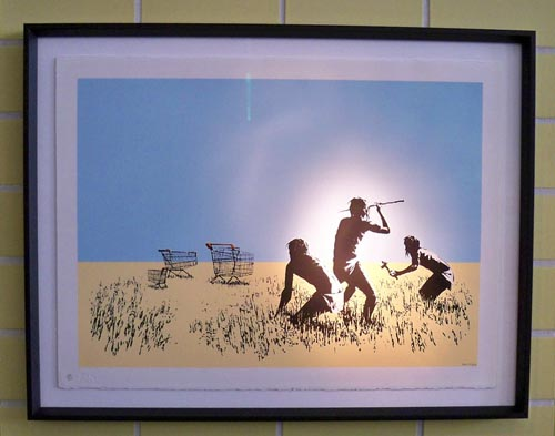 Banksy print trolleys framed